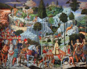 Fresco de Benozzo Gozzoli para la Capilla dei Maggi del Palazzo Médici-Riccardi. médici - Fresco de Benozzo Gozzoli para la Capilla dei Maggi del Palazzo M  dici Riccardi 300x238 - El auge de los Médici en tiempos de Cosme el Viejo (1389-1464)