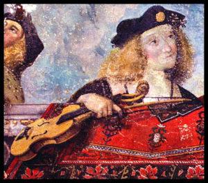 Detalle del fresco atribuido a la escuela de Garofalo (1505-1508), Benvenuto Tisi da Garofalo (ca 1474/81-1559). Palazzo di Ludovico «il Moro», Sala del Tesoro, Ferrara, (Italia). violín - Garofalo violin c - El violín en la Historia (III). Aproximación a una teoría sobre su origen en clave ibérica