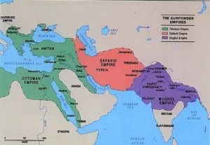 Mapa de los principales imperios musulmanes en el siglo XVI. islámicos - GunpowderEmp 300x207 - Imperios islámicos ante el fin del mundo