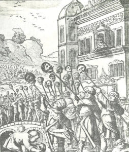 El sha Abbas se tomaba en serio cualquier oposición. Escena de la reconquista de Tabriz (1603) (Wikimedia). islámicos - RecaptureOfTabrizByShahAbbas1 254x300 - Imperios islámicos ante el fin del mundo