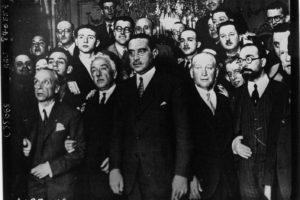 Miembros del gobierno provisional de la Segunda República; de izquierda a derecha: Álvaro Albornoz, Niceto Alcalá-Zamora, Miguel Maura, Francisco Largo Caballero, Fernando de los Ríos y Alejandro Lerroux (Wikimedia).