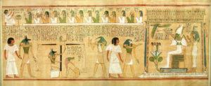 El Juicio de Osiris en el Papiro de Hunefer, en el Museo Británico (Wikimedia).