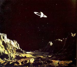 Saturno visto desde la luna Jápeto, Chesley Bonestell (1944) (Flickr). espacial - sofia2  - Informe especial. La conquista de los paisajes cósmicos