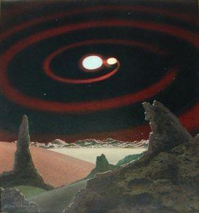 Beta Lyrae, Chesley Bonestell (1960) (Wikimedia). espacial - sofia3  - Informe especial. La conquista de los paisajes cósmicos