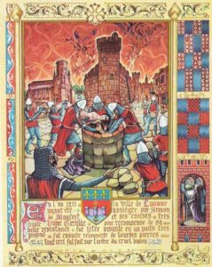 Escena de ejecución de los cátaros por parte de los cruzados.