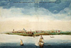 Ilustración de Nueva Ámsterdam por Johannes Vingboons en 1664 (Memory of the Netherlands). manhattan - Ilustraci  n de Nueva   msterdam por Johannes Vingboons en 1664 - La Historia de Manhattan, el corazón de Nueva York