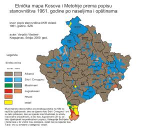 Población por afiliación étnica de Kosovo: En verde etnia albanesa y en azul la etnia serbia, 1961. (Wikimedia).
