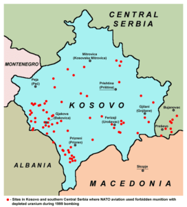 Sitios de Kosovo y el sur de Serbia donde la OTAN bombardeó con munición prohibida de uranio empobrecido (Wikimedia). kosovo - Kosovo uranium NATO bombing1999  - La Guerra de Kosovo, la Jerusalén serbia