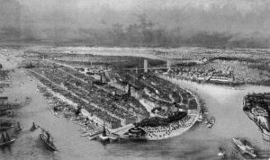 Vista de Manhattan hacia 1880 (Biblioteca del Congreso de Estados Unidos). manhattan - Vista de Manhattan hacia 1880 - La Historia de Manhattan, el corazón de Nueva York