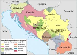 Principales etnias y nacionalidades en la antigua Yugoslavia en 1998 (Wikimedia). kosovo - ethnic map 1998  - La Guerra de Kosovo, la Jerusalén serbia