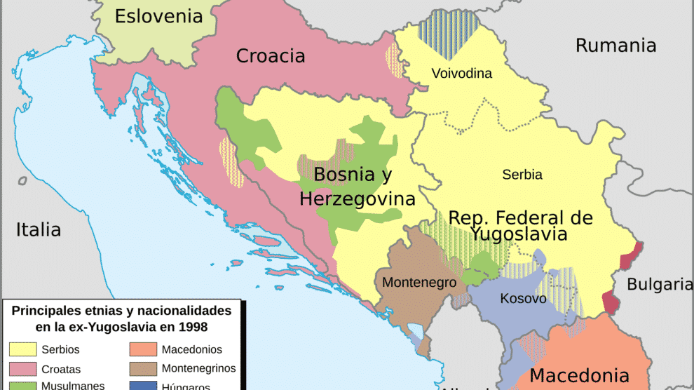 Principales etnias y nacionalidades en la antigua Yugoslavia en 1998 (Wikimedia).