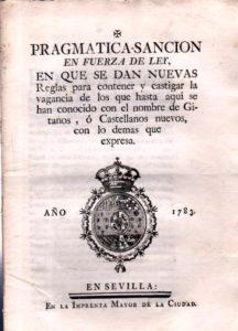 Portada de la Pragmática Sanción promulgada contra los gitanos (Wikimedia). gitanos - gitanos2 216x300 - Los gitanos en la España Moderna: historia de una persecución