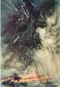 Ilustración de Odín por Arthur Rackham (Wikimedia).
