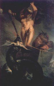 Thor peleando contra la serpiente Jörmundgander, durante el Ragnarök, cuadro de Johann Heinrich Füssli (1788) (Wikimedia).