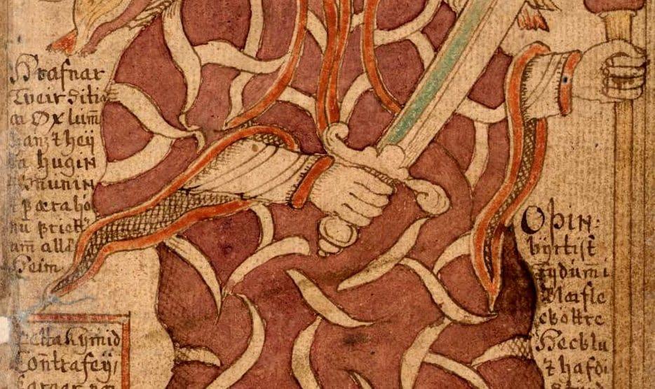 Odín en un manuscrito islandés del siglo XVIII (Wikimedia).