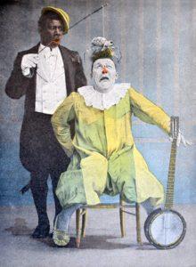 Actuación de Footit y Chocolat. Ilustración a color de René Vincent, ca. 1900 (Fuente Wikipedia)