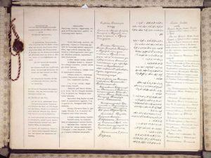 Las primeras dos páginas del Tratado de Brest-Litovsk, en (de izquierda a derecha) alemán, húngaro, búlgaro, turco otomano y ruso (Wikimedia).