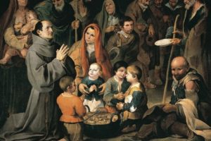 Diego de Alcalá dando de comer a los pobres, Bartolomé Esteban Murillo (1646) (Wikimedia).
