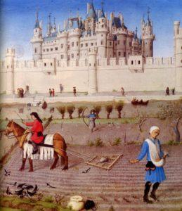Detalle de Las muy ricas horas del Duque de Berry (siglo XV) en el que se observa la relación entre la ciudad y su entorno rural (Wikimedia).