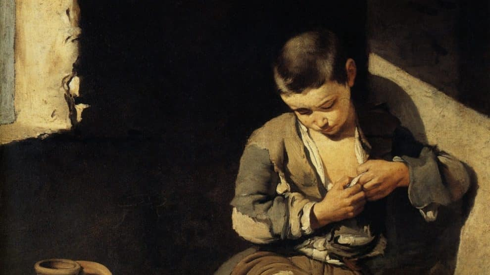 Joven mendigo o Niño espulgándose (Wikimedia).