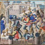 Miniatura bajomedieval que muestra el intento de poner a salvo objetos sagrados en una iglesia durante el saqueo de Roma de Alarico (Wikimedia).