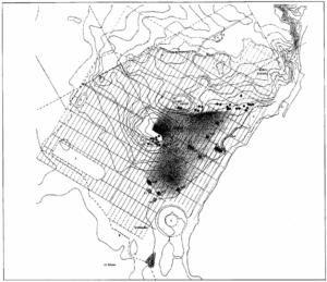 Topografía de Cartago. Emplazamiento primigenio, hacia el siglo VI a. C. Se observa la colina de Byrsa en el centro de la imagen.