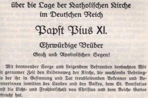 Encíclica emitida por Pío XI Mit Brenneder Sorge (Wikimedia).