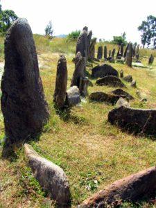 Alineaciones de estelas funerarias en Tiya (Esther Núñez).