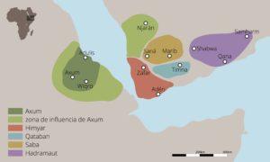 Mapa del Imperio de Aksum durante su mayor extensión territorial (Juan Pérez Ventura).