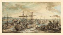 La batalla del Cabo Ecnomo representada por el pintor francés Gabriel Jacques de Saint-Aubin en 1763. Fue una de las mayores batallas navales de la Antigüedad (Wikimedia).