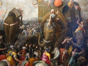 Célebre pintura de Giulio Romano en la que representa la batalla de Zama, ocurrida el 19 de octubre del 202 a. C., y que enfrentó a Escipión el Africano con Aníbal Barca. En ella, Escipión puso en práctica una ingeniosa estrategia para hacer frente a los imbatibles elefantes cartagineses. Roma se impuso, aunque Aníbal logró escapar (Wikimedia).