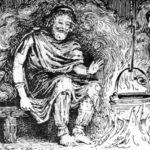 Escena del Rigsthula donde el dios Heimdal se sienta entre Edda y Ái (Wikimedia).