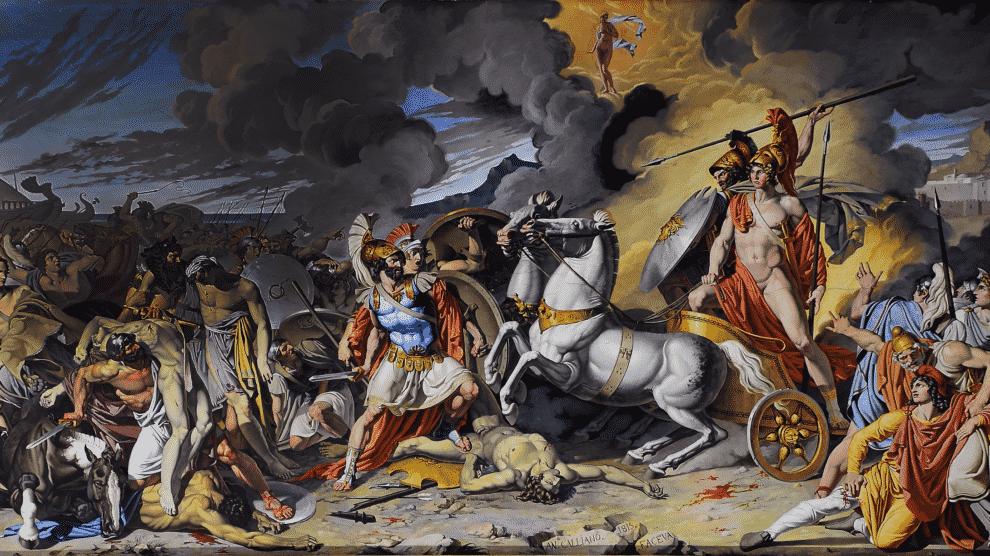 Pintura de Antonio Raffaele Calliano conocida como Aquiles en su carro cabalga sobre el cuerpo del Hector asesinado. Está ubicado en la la sala del trono del Palacio Real de Caserta, o Reggia di Caserta, en el sur de Italia (Wikimedia).