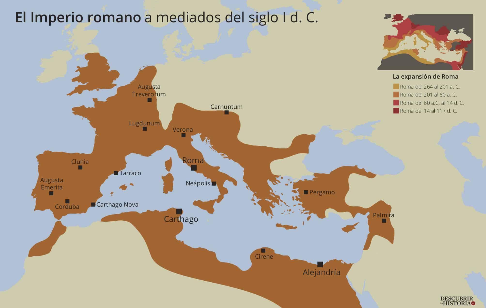 El Imperio romano a mediados del siglo I d. C. (Mapa de Juan Pérez Ventura).