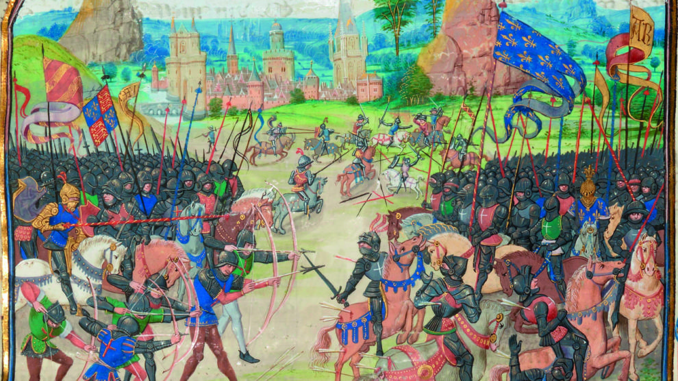 Batalla de Poitiers. Ilustración de las Crónicas de Froissart (Wikimedia).