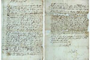 Dos páginas del manuscrito de Galileo localizado recientemente (Royal Society).