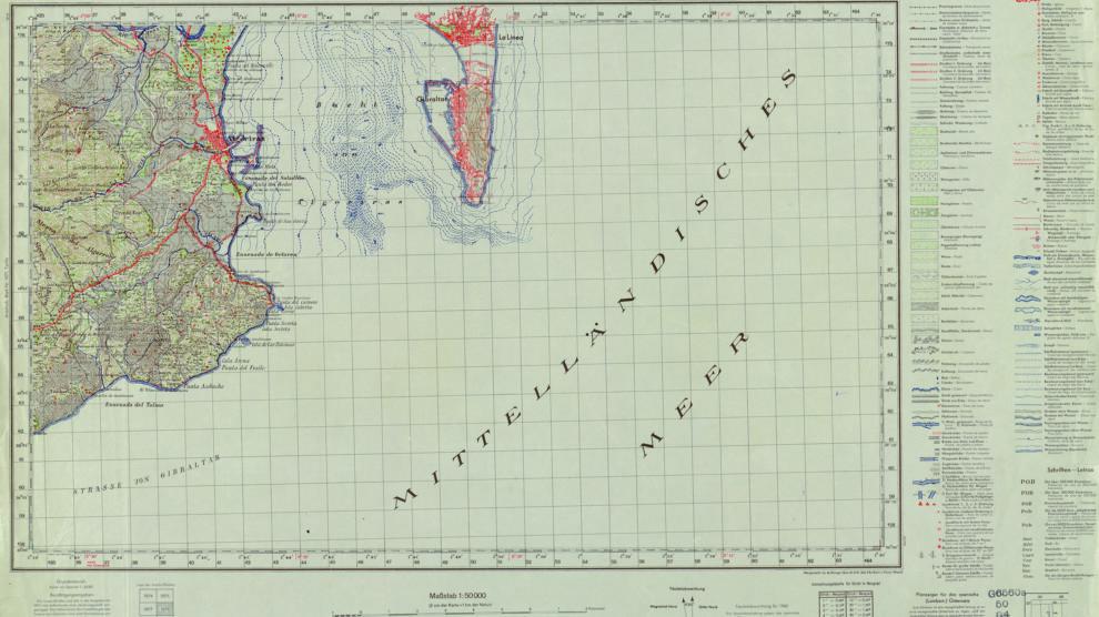 Mapa alemán con las líneas de batimetría de la bahía de Algeciras (Library of Congress, Division of Maps, Washington. Dominio público).