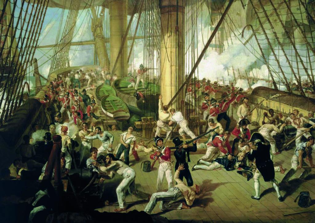 La caída de Nelson. Cuadro de Denis  Dighton ubicado en el National Maritime Museum (Londres).