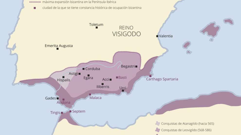 Zonas de influencia o dominación bizantina entre el 533 y el 625 (Juan Pérez Ventura).