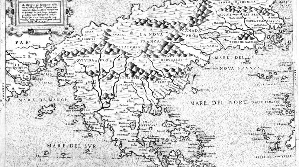 Mapa de Bolonigno Zaltieri realizado en 1566, donde se puede ver el paso de Anián referido como Streto de Anian, en la zona superior izquierda de la imagen.