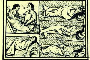 Imágenes de Historia general de las cosas de Nueva España, obra del siglo XVI escrita por Bernardino de Sahagún (1499-1590) en el que aparecen representados los efectos de la viruela en la población autóctona de Mesoamérica (Wikimedia).