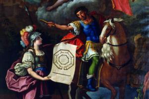 Minerva y Sertorio. Óleo sobre lienzo de Juan Andrés Merklein (1768). En esta imagen, la diosa le muestra a Sertorio el plano de la Universidad de Huesca que llevará su nombre.