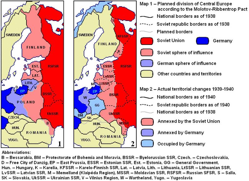 Reparto acordado. Mapa de la derecha: ocupación efectiva