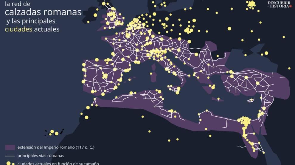Infografía con las principales calzadas romanas (Juan Pérez Ventura).