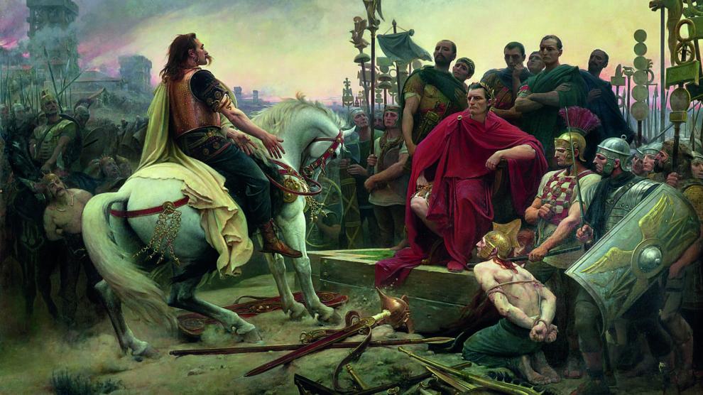 Vercingétorix arroja sus armas a los pies de César, pintura de Lionel Royer realizada en el 1899 (Wikimedia).