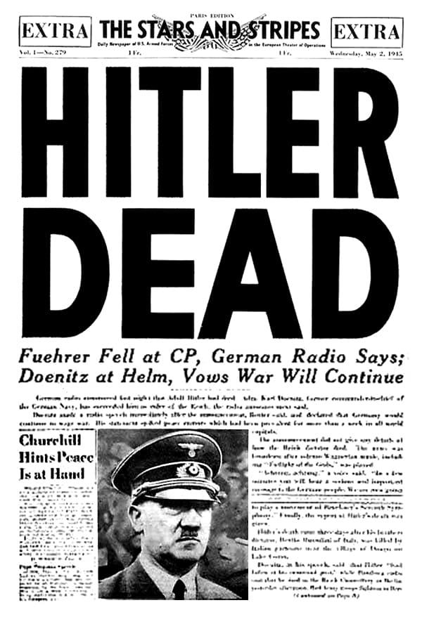 Portada del diario militar norteamericano The Stars and Stripes del 2 de mayo de 1945 anunciando la muerte de Hitler.