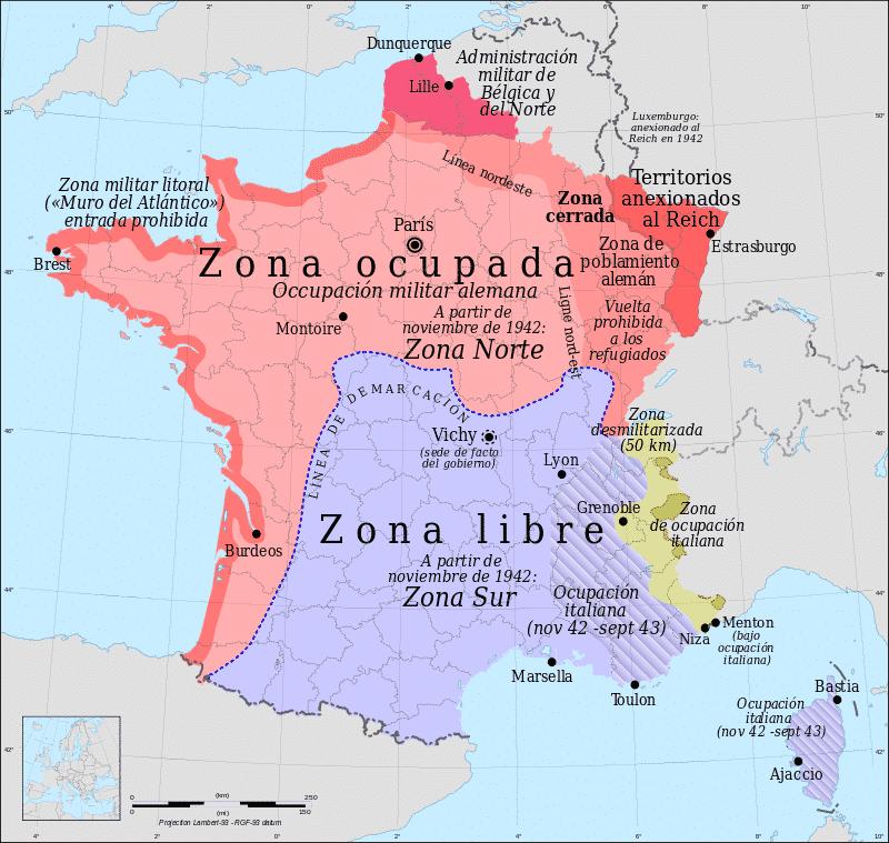 Mapa Francia Vichy (1940-42) (Wikimedia).