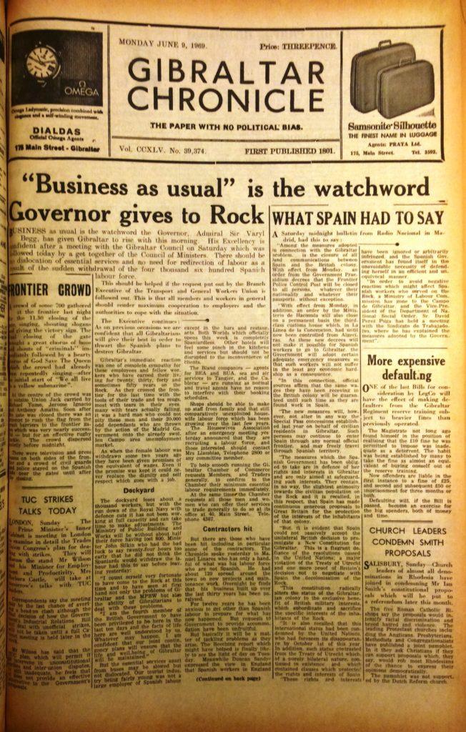 Portada del periódico Gibraltar Chronicle del 9 de junio de 1969 (Imagen cedida por Gibraltar Garrison Library).