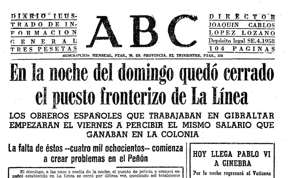 Portada del periódico ABC del 9 de junio de 1969 (Hemeroteca ABC).
