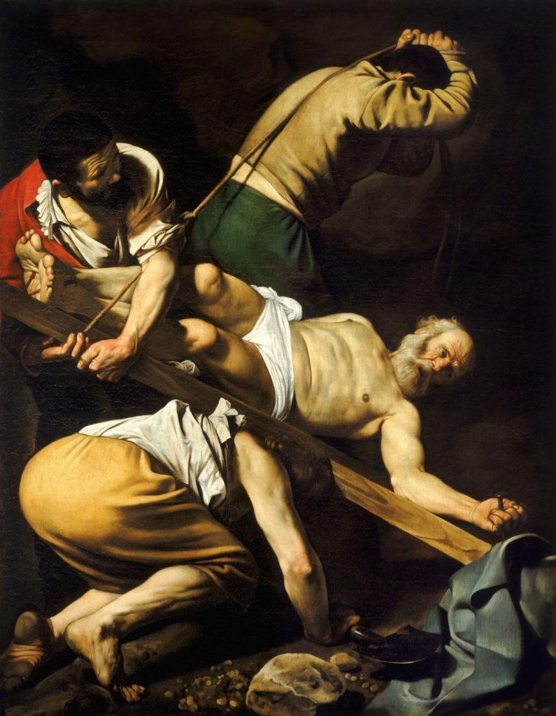 La crucifixión de Pedro, pintura de Michelangelo Merisi da Caravaggio realizada en 1601 (Wikimedia).
